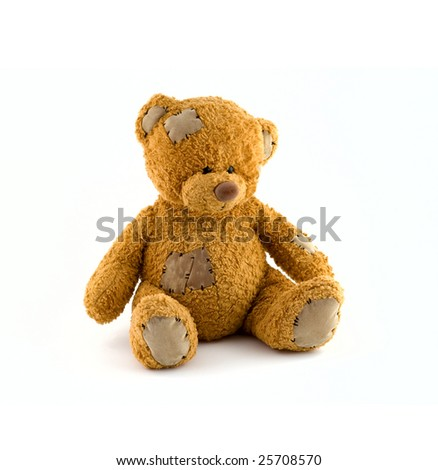 Cute teddy bear at isolated white background - stock photo