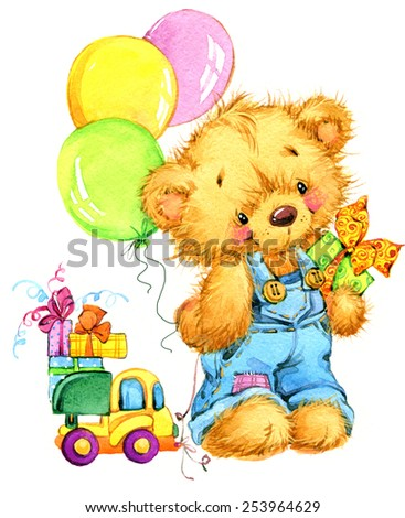 cute teddy bear for kid birthday background . watercolor illustration - stock photo