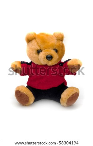 Cute teddy bear. Image is taken over a white background. - stock photo