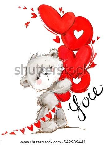Cute teddy bear love you card 542989441 shutterstock cute teddy bear love you card valentines day watercolor background voltagebd Gallery