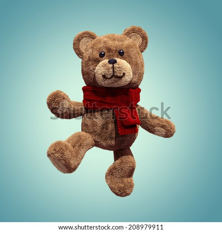 cute teddy bear toy dancing, 3d cartoon character - stock photo