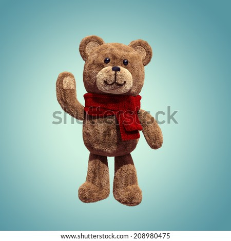 cute teddy bear toy hand up, 3d cartoon character - stock photo