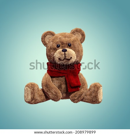 cute teddy bear toy sitting, 3d cartoon character - stock photo