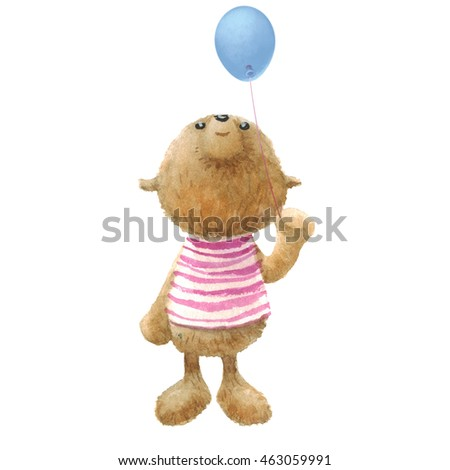 Cute Teddy Bear with balloon, character design, watercolor painting. Clipping path included, fast isolation.