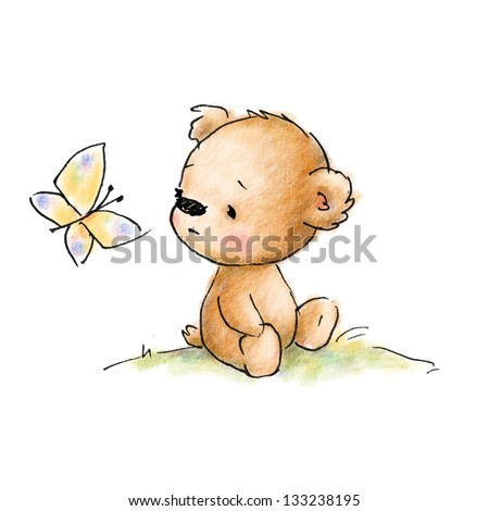 Cute teddy bear with butterfly - stock photo