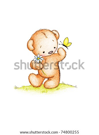 Cute teddy bear with daisy and butterfly on green lawn - stock photo