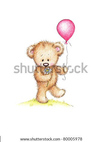 Cute teddy bear with daisy and pink balloon on green lawn - stock photo