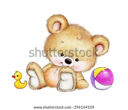 Cute Teddy bear with toys - stock photo