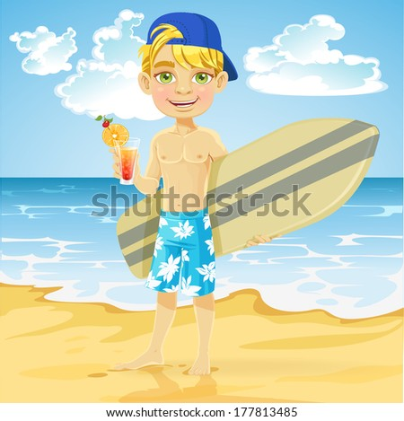 Cute teen boy with a drink in a glass and a surfboard on a sunny beach - stock photo