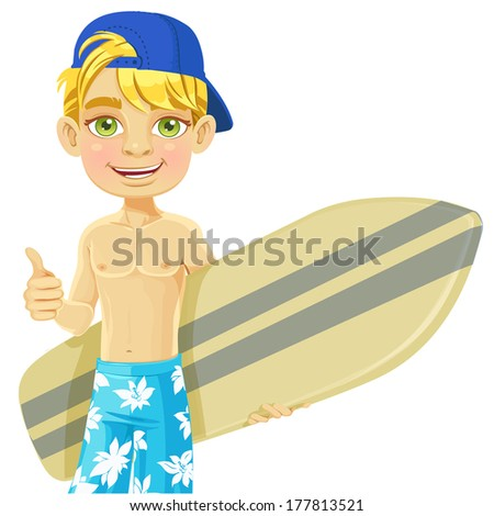 Cute teen boy with a surfboard isolated on a white background - stock photo