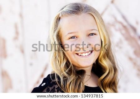 Cute teen girl portrait - stock photo