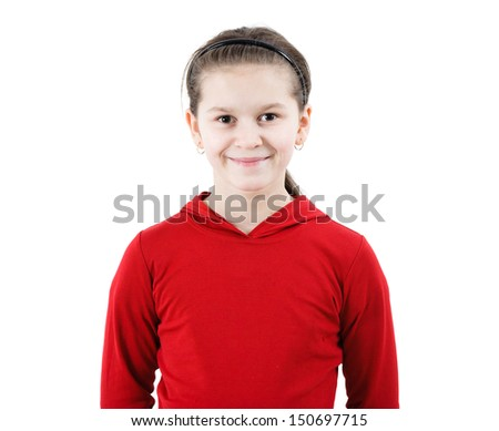 Cute teen girl smiles. Portrait on a white background - stock photo