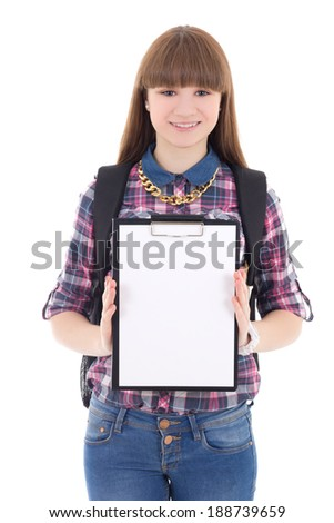 cute teenage girl with blank clipboard isolated on white background - stock photo