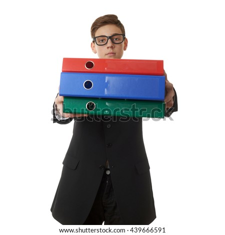 Cute teenager boy in back business suit with a pile of folders over white isolated background, half body, future career concept - stock photo
