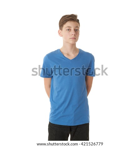 Cute teenager boy in blue T-shirt over white isolated background, half body - stock photo