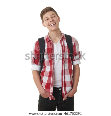 Cute teenager boy in red checkered shirt with school bag and hands in pockets over white isolated background, half body, as school, education concept