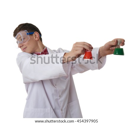 Cute teenager boy wearing white lab medic coat and protecting glasses with flask over white isolated background as science, experiment, healthcare concept