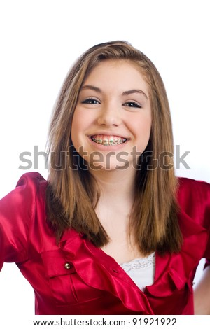 Cute teenager girl with braces. - stock photo