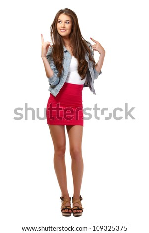 cute teenager posing on white background - stock photo