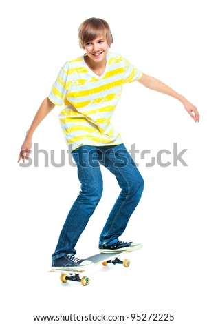 cute teenger blond boy on standing on skateboard isolated on white background