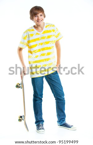 cute teenger blond boy with skateboard isolated on white background