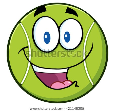 Cute Tennis Ball Cartoon Character. Raster Illustration Isolated On White - stock photo