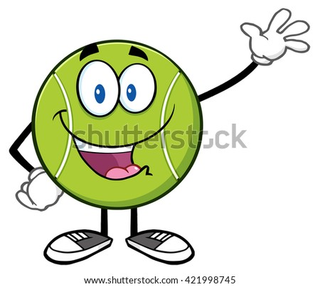 Cute Tennis Ball Cartoon Character Waving. Raster Illustration Isolated On White - stock photo