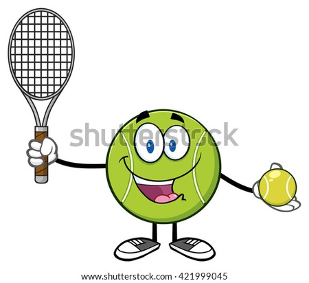 Cute Tennis Ball Player Cartoon Character Holding A Tennis Ball And Racket. Raster Illustration Isolated On White - stock photo