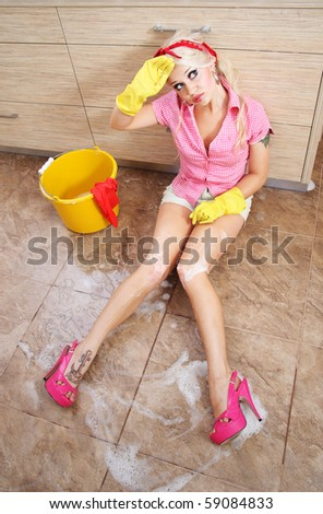 Cute tired cleaner, similar available in my portfolio - stock photo