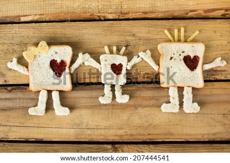 Cute toast family for the good morning breakfast - stock photo