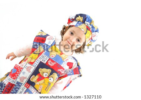 Cute toddler dressed as a chef. More pictures of this baby at my gallery - stock photo