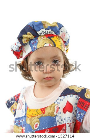 Cute toddler dressed as a chef (portrait). More pictures of this baby at my gallery - stock photo