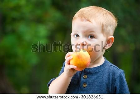 cute toddler eating fresh summer peach - stock photo
