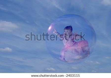 cute toddler girl in princess dress floating in a bubble. - stock photo