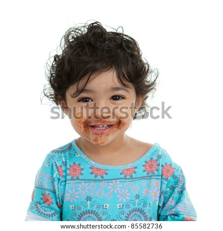 Cute Toddler Girl with Mouth Smeared with Chocolate, Isolated, White - stock photo