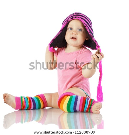 Cute toddler isolated on white background - stock photo