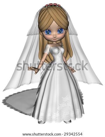 Cute Toon Bride - stock photo