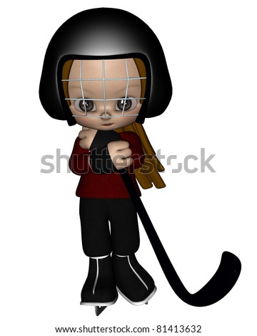 Cute toon kid dressed in a red jersey ready to play ice hockey, 3d digitally rendered illustration - stock photo