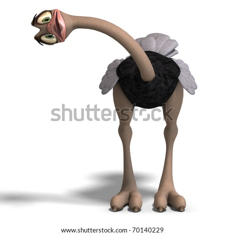 cute toon ostrich gives so much fun. 3D rendering with clipping path and shadow over white - stock photo