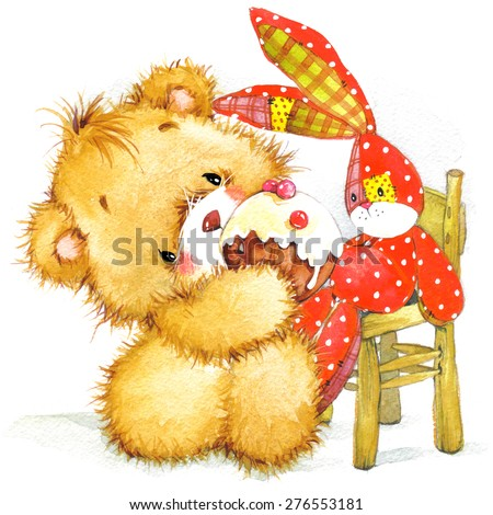 Cute toy bear and toy bunny illustration for kid Birthday background. watercolor