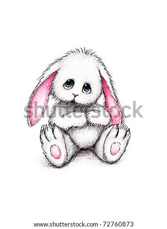 Cute toy bunny on white background - stock photo