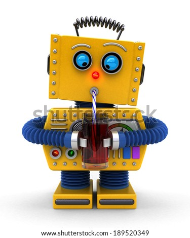 Cute toy robot trying to drink with a straw - stock photo