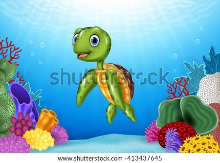 Cute Turtle with beautiful underwater world - stock photo