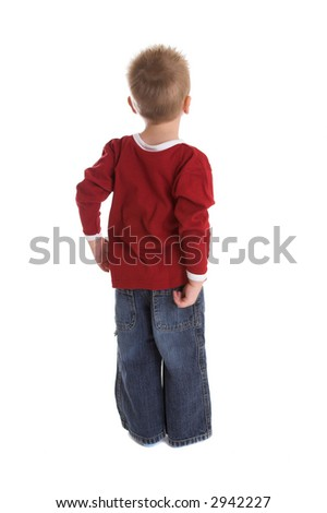 Cute two year old with his back towards the camera - stock photo