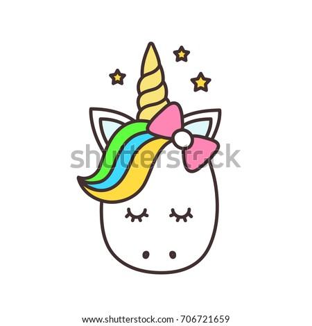 cute unicorn facevector cartoon character