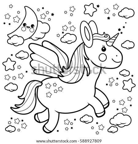 Cute unicorn flying night sky coloring stock vector 403477171 Night Sky Poems Beach Sky Coloring Pages Printable Coloring Pages Sky