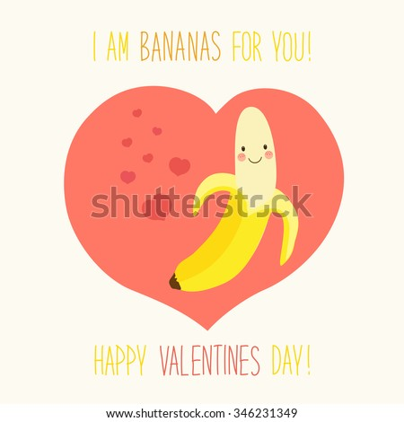Cute unusual hand drawn Valentines Day card with funny cartoon character of banana and hand written note - stock photo