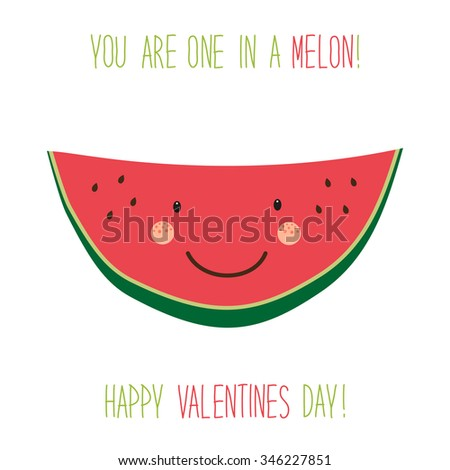 Cute unusual hand drawn Valentines Day card with funny cartoon character of melon and hand written note - stock photo