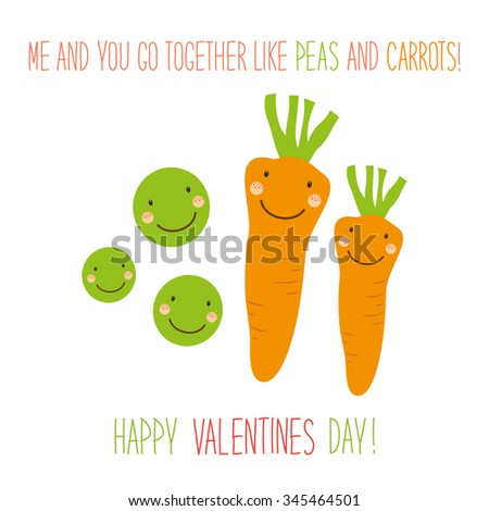 Cute unusual hand drawn Valentines Day card with funny cartoon characters of carrots and peas and hand written note  - stock photo