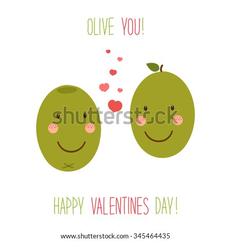 Cute unusual hand drawn Valentines Day card with funny cartoon characters of olives and hand written note  - stock photo